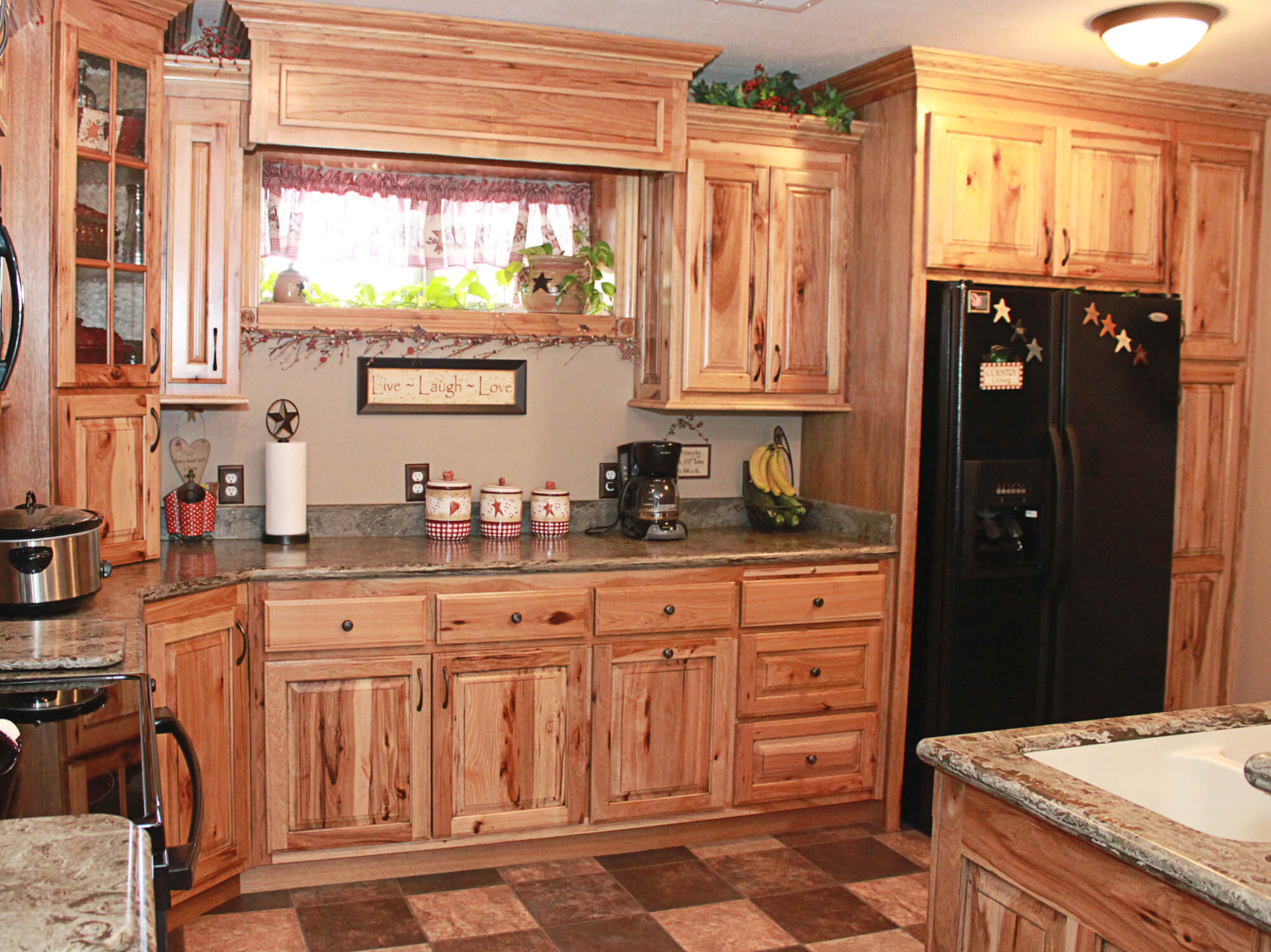 The cabinets plus rustic hickory kitchen cabinets for Cupboards and cabinets