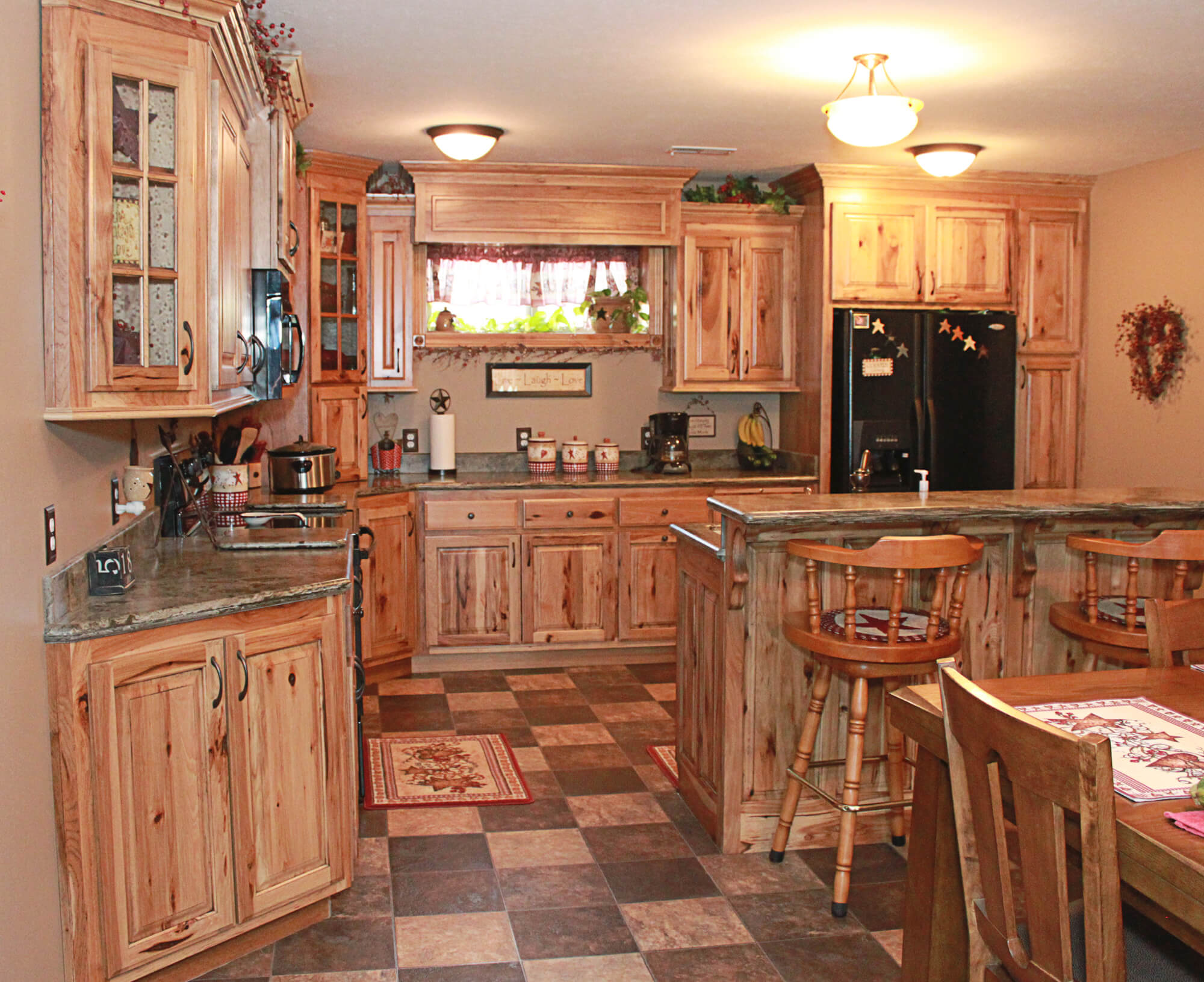 The cabinets plus rustic hickory kitchen cabinets for Rustic kitchen cabinets
